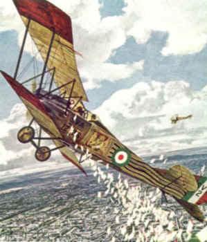 A plane dropping propaganda leaflets