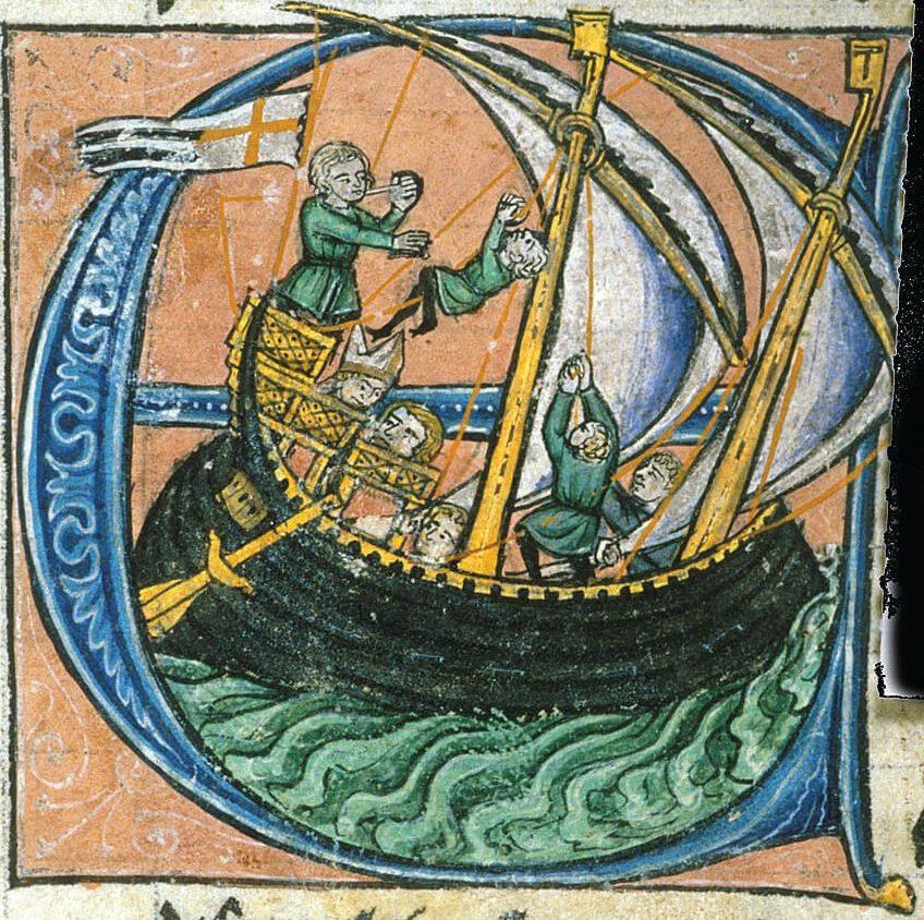 Dagobert, patriarch of Jerusalem, sailing for Apulia in a ship flying the Kingdom of Jerusalem's flag, 13th century