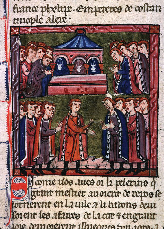 "Godfrey of Bouillon is selected as ""Defender of the Holy Sepulcher."" Illustration by William of Tyre, circa 1280"
