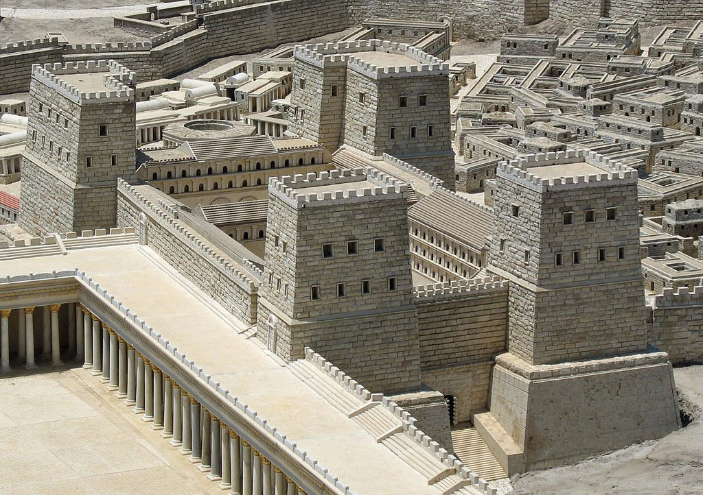 Herod built the Antonia Fortress in 35 BCE to give him and his Roman allies control of the Temple Mount. The Antonia in the model of Second Temple Jerusalem on display in the Israel Museum