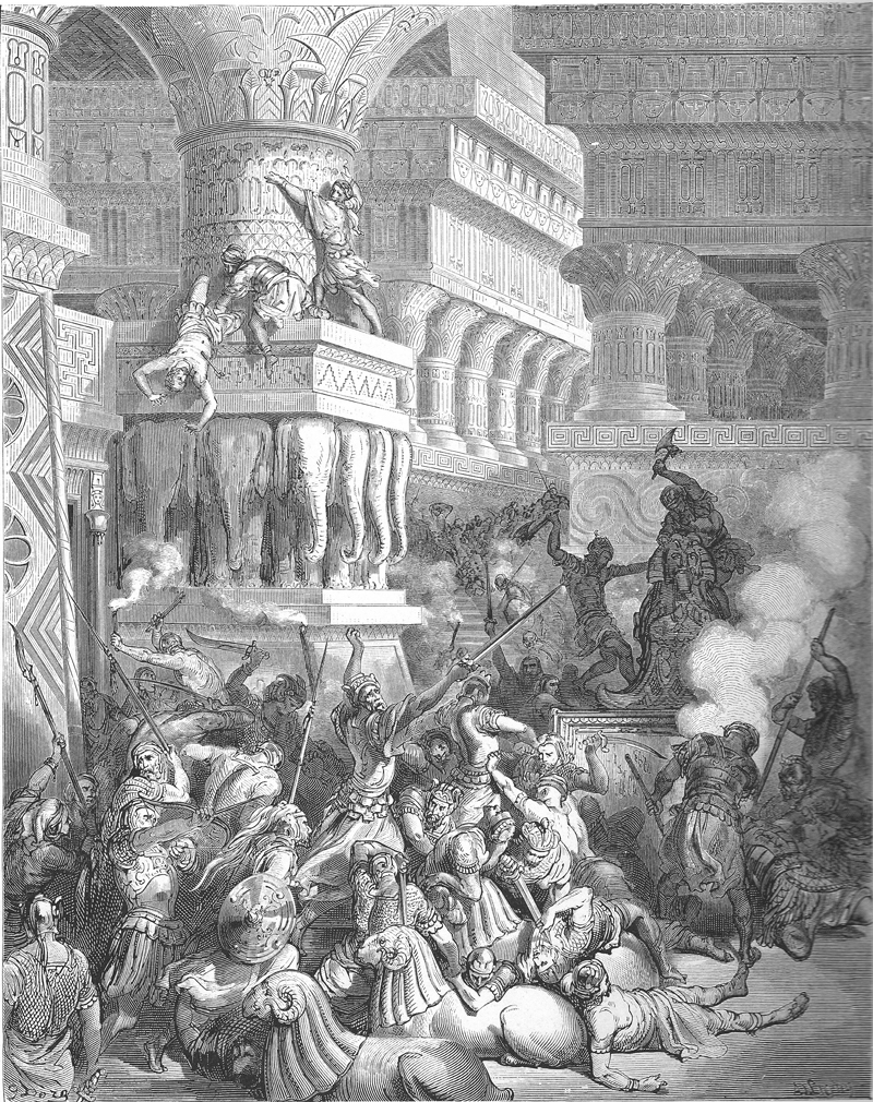 Jonathan Destroys the Temple of Dagon, engraving illustrating I Maccabees 10:84, from Gustave Dore's Old Testament (Stuttgart-Germany, 1885)