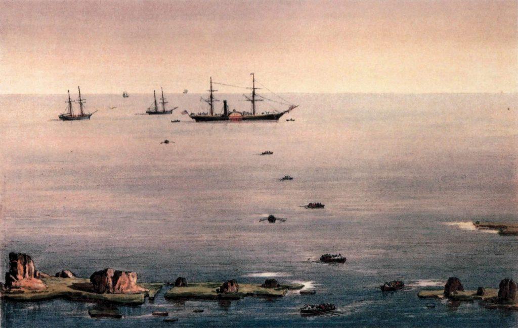 מציוריה של אליזבת אן פין, שפורסמו בספרה ׳זריחה בירושלים׳: ספינות בנמל יפו וסלע אנדרומדה עם שקיעת השמש