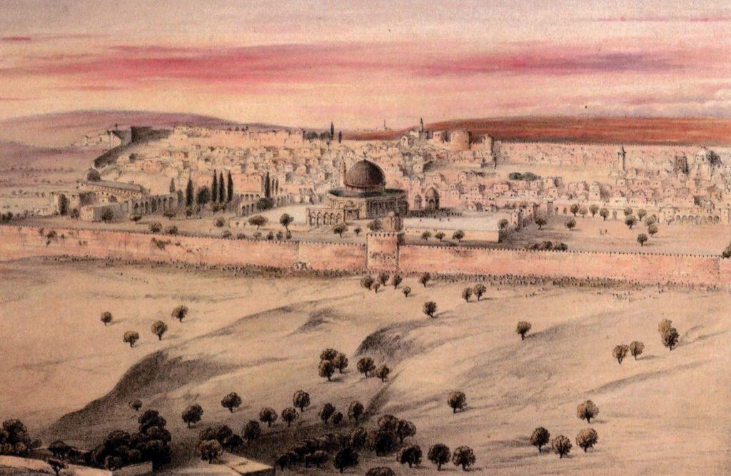 מבט מהר הזיתים על ירושלים והר הבית בשעת הזריחה. אליזבת אן פין