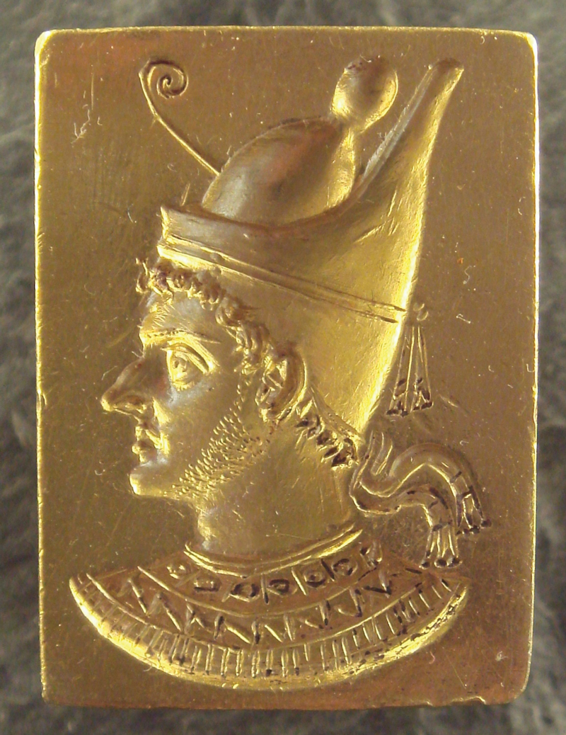 Gold signet ring of Ptolemy VI Philometer (Mother-Loving), so called because he initially reigned alongside his mother, Cleopatra I. The many wars, intrigues, and upheavals throughout his life revolved chiefly around his struggle to maintain control of Egypt and reconquer Judea. Ptolemy indulged his Jewish subjects, allowing the priest Onias IV to settle in Leontopolis (near Memphis) and establish a temple there