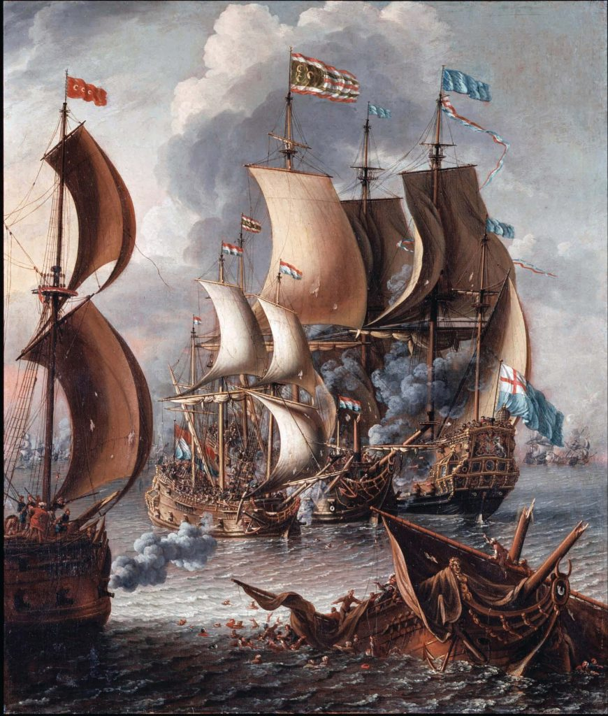 North African pirates were called Barbary pirates in Europe – after Morocco׳s Berber tribesmen, who were perceived as particularly cruel and coarse. Naval battle between a European man-of-war and Barbary pirates, painted by Lorenzo A. Castro, oil on canvas, late 17th century