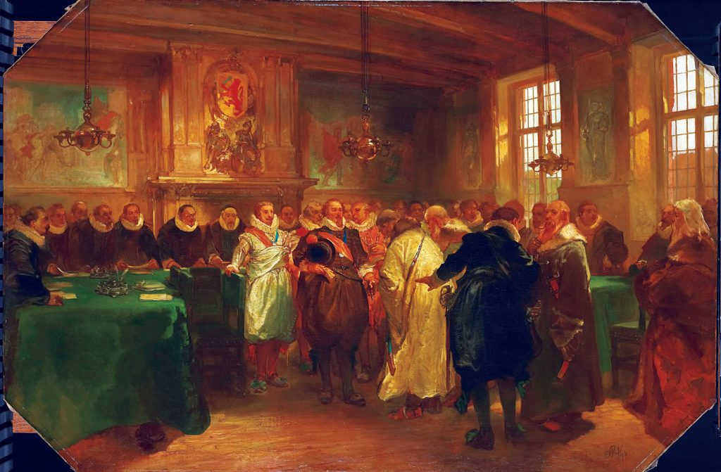 Maurice of Nassau was Samuel Pallache׳s patron and friend, working behind the scenes for his release from British jail. Prince Maurice receiving a diplomatic delegation from Russia in 1614, presumably in the same chamber in which he frequently hosted Pallache. Charles Rochussen, oil on canvas, 1874