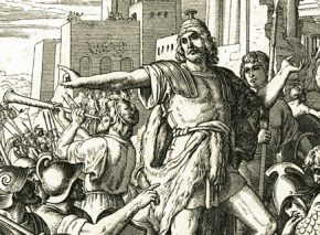 Judah Maccabee purifies the Temple, etching by Julius von Carolsfeld