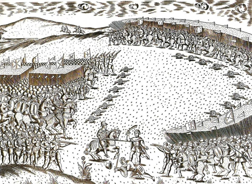 Published in 1629, this etching depicts the relative weakness of the Portuguese army in the Battle of Alcácer Quibir. On display at the Forte da Ponta da Bandeira Museum, Lagos, Portugal