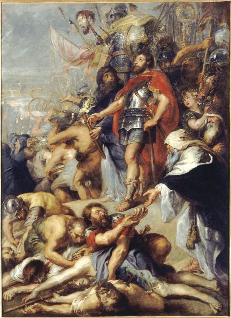 "Judah waves Nicanor's head aloft. Peter Paul Rubens, ""The Triumph of Judas Maccabee,"" Museum of Fine Artsin Nantes, circa 1630"