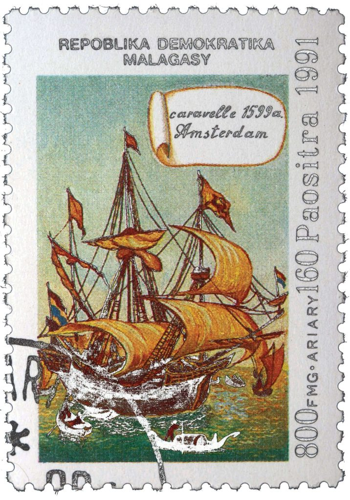 Stamp issued in Madagascar in 1991, picturing a Dutch caravel from 1599