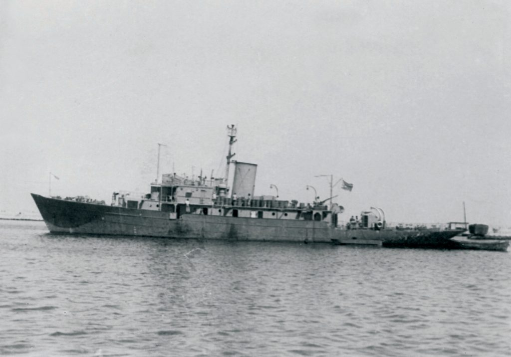 The former SS Ben Hecht, by now the INS Ma'oz, patrolling Israeli waters