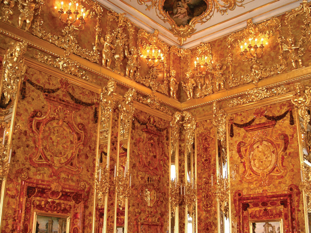 The Amber Room, given to Peter the Great by Wilhelm I of Prussia, was one of Russia's greatest artistic treasures. Its large, magnificent amber panels were stolen by the Nazis during World War II and presumably destroyed in the bombing of Konigsberg, Germany. The Russian government began reconstructing the room in the 1970s, completing the project in 2003, in time for the three hundredth anniversary of St. Petersburg