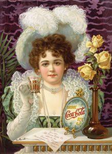 פרסומת המציעה לקנות כוס קוקה קולה בחמישה סנטים. ארצות הברית, סביבות 1900