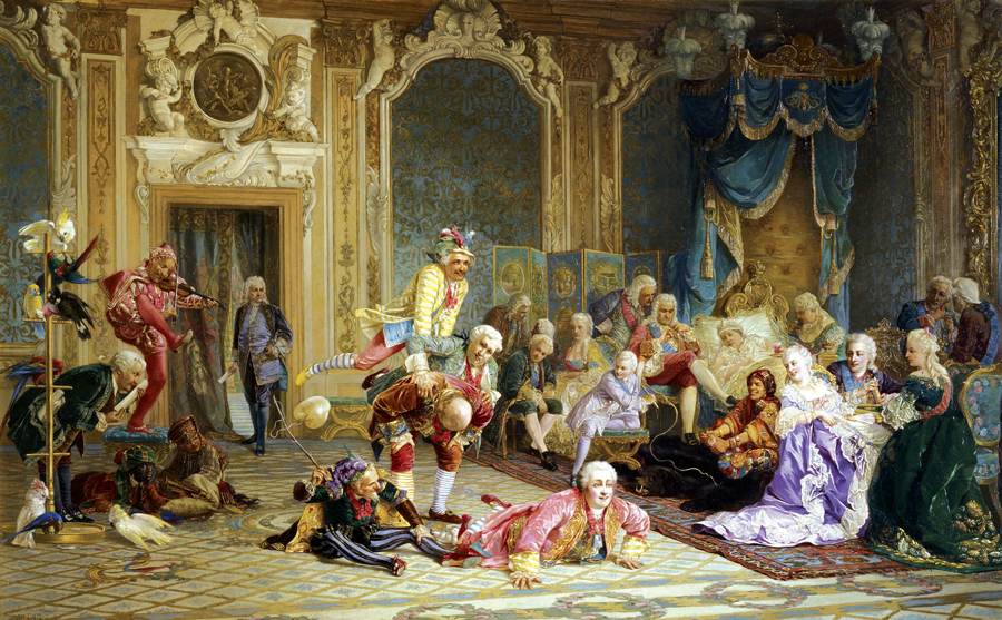 Sometimes performing in groups, clowns commonly amused the ruling family and their guests, providing a welcome distraction from affairs of state. Jesters in the court of Peter the Great's niece, Czarina Anna Ivanovna, who recalled entertainer Ian Lacosta from Siberian exile.