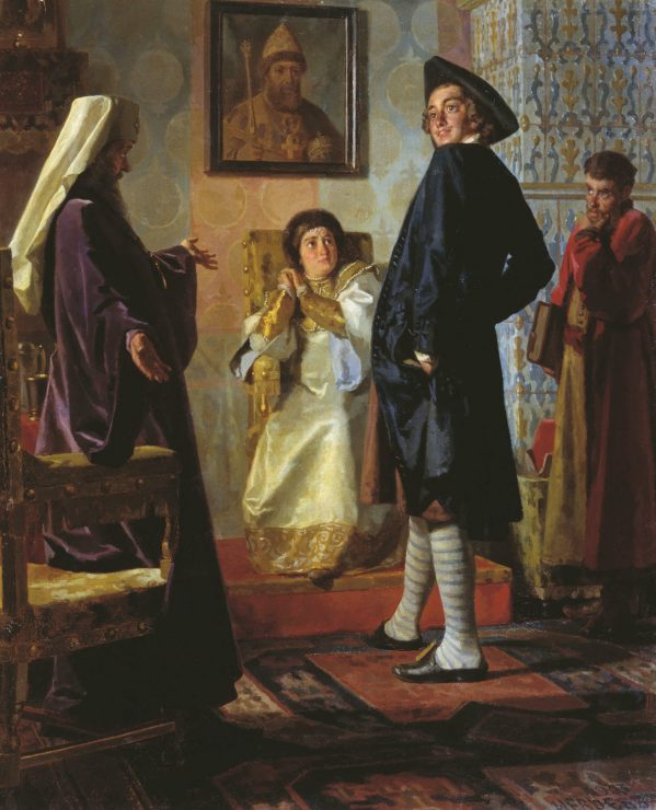 Disguised as a commoner, Peter visits his mother before setting out on his great European expedition. This oil painting by Nikolai Nevrev from 1903 is actually inaccurate, as Czarina Natalya died in 1694, three years before the mission