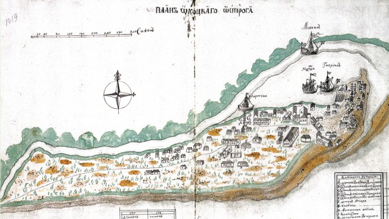 Peter the Great awarded a tiny island in the Gulf of Finland to his Jewish court jester, Ian Lacosta. Map of the island, 1737