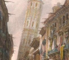 מגדל נטוי בעיר סרגוסה, ספרד, דוד רוברטס, צבעי מים, 1838