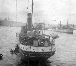 Rahel was one of many well-known figures coming home on the SS Ruslan, sometimes called the Zionist Mayflower. The Ruslan, docked in Constantinople, 1919