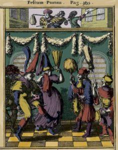 בעמוד ממול: אחד התיעודים הוויזואליים הראשונים של הצגת פורים שפיל, הולנד 1657 מתוך ספרו של ג'והן לזדן 'Philologus Hebraeo-Mixtus
