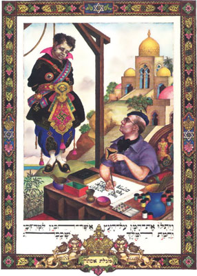 Facing page, right: illustration from Szyk's megilla of 1950. Haman hangs from a gallows, swastikas adorning his uniform-like robes, while Szyk himself sits at his worktable, watching his enemy swing