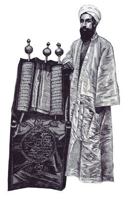A late-19th-century high priest with a Samaritan Torah scroll. From Through Samaria to Galilee and the Jordan by Josias Leslie Porter, London, 1889