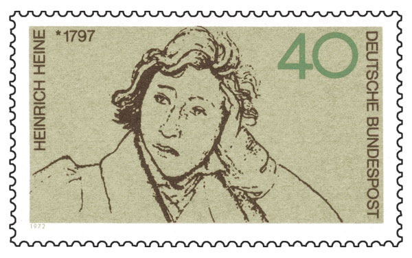 As a literary and cultural icon, Heine has been celebrated in numerous German stamps. Commemorating the centenary of his death in 1956 and, above, honoring the 175th anniversary of his birth, 1972