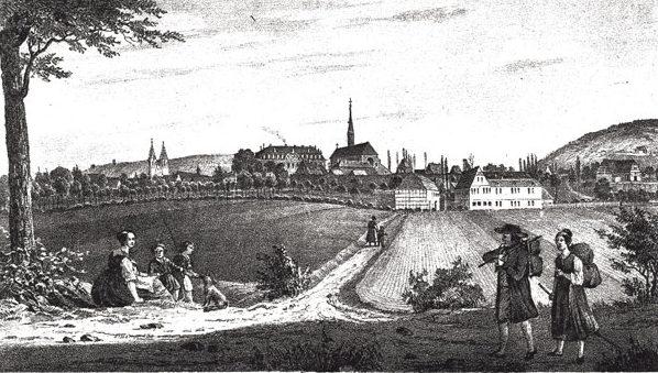 עיר המרחצאות הייליגנשטאדט שבה הוטבל היינה לנצרות. קארל דובל, סביבות 1840