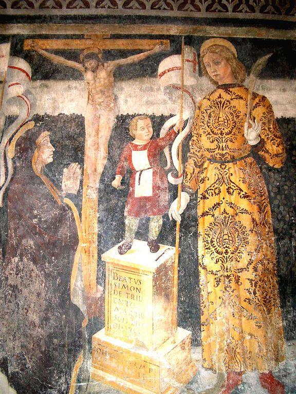 Fresco showing the supposed St. Simon of Trento inside the church of Santa Maria Annunciata, Bienno
