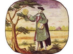 Illustration by Uri Feibush from the Copenhagen Haggada, watercolor on parchment, 1739