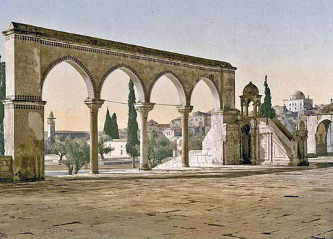 Find the difference. John Fulleylove's 1895 painting of the Temple Mount (published in The Holy Land by John Kelman, 1902) shows Tiferet Israel in the background at far left, complete with its green roof. In the sketch below, drawn in the 1920s from a different angle, the synagogue's dome is clearly white