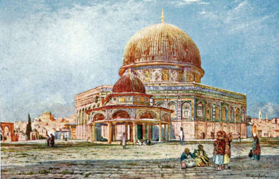 Find the difference. John Fulleylove's 1895 painting of the Temple Mount (published in The Holy Land by John Kelman, 1902) shows Tiferet Israel in the background at far left, complete with its green roof
