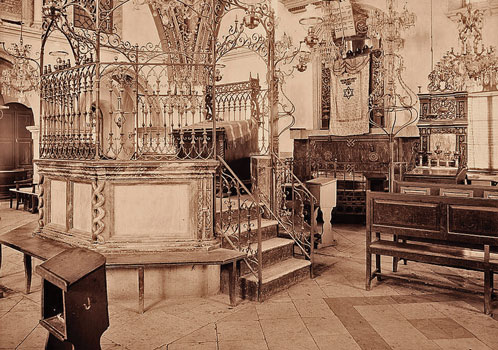 ribute to a Hasidic master builder. Rabbi Israel Friedman of Ruzhyn, who bought the land on which Tiferet Israel was built and funded most of the synagogue's construction, presided over a Hasidic court famed for its regal pomp and splendor. Tiferet Israel's magnificent interior, postcard published by Wilhelm Gross of Jaffa and Jerusalem, 1901