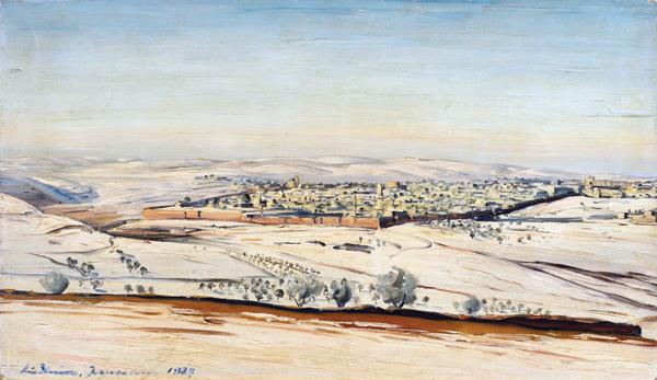 ירושלים בשלג. שמן על בד, מ״ס 41 x 61; ישראל, 1927; אוסף פרטי