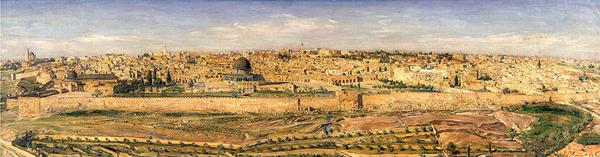 מראה ירושלים מהר הזיתים, שמן על בד, 1936/ לודוויג בלום