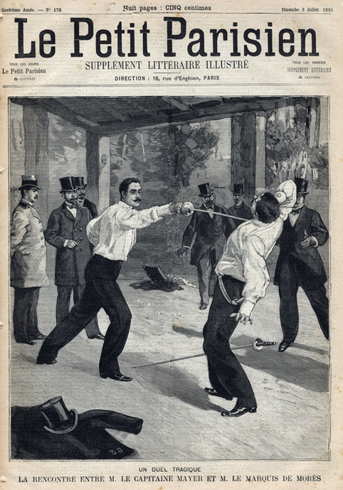 Death or dishonor? Herzl eventually realized that challenging Jews to a duel was just another way of killing them. The duel between the Marquis de Morès and Captain Armand Mayer, sketch from Le Petit Parisien, 1892