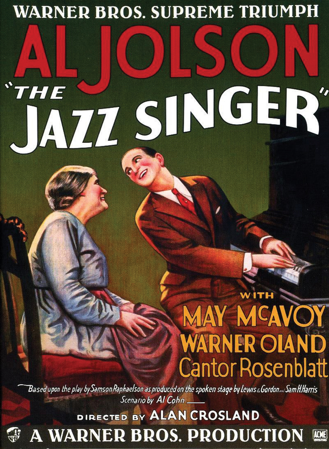 The poster advertising The Jazz Singer omits any mention of sound, yet gives particular prominence to cantor Yossele Rosenblatt's cameo performance. Was Warner Brothers hedging its bets?