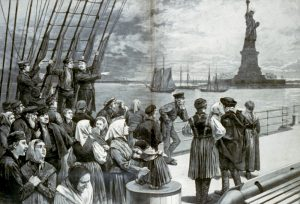 An Ocean Steamer Passing the Statue of Liberty: Scene on the Steerage Deck, wood engraving from Frank Leslie's illustrated newspaper, July 2, 1887
