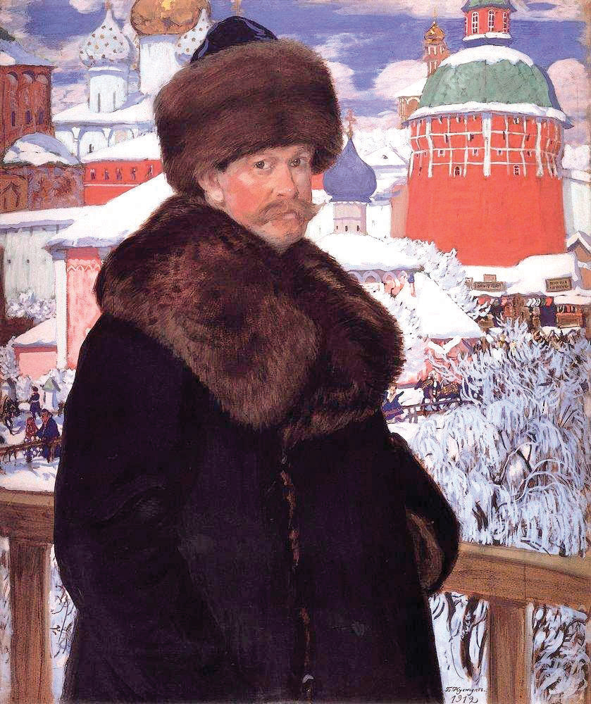 Rozhiner Hasid's shtreimel? Artist Boris Kustodiev poses outside the Trinity Lavra of St. Sergius Monastery. Self-portrait, oil on canvas, 1912