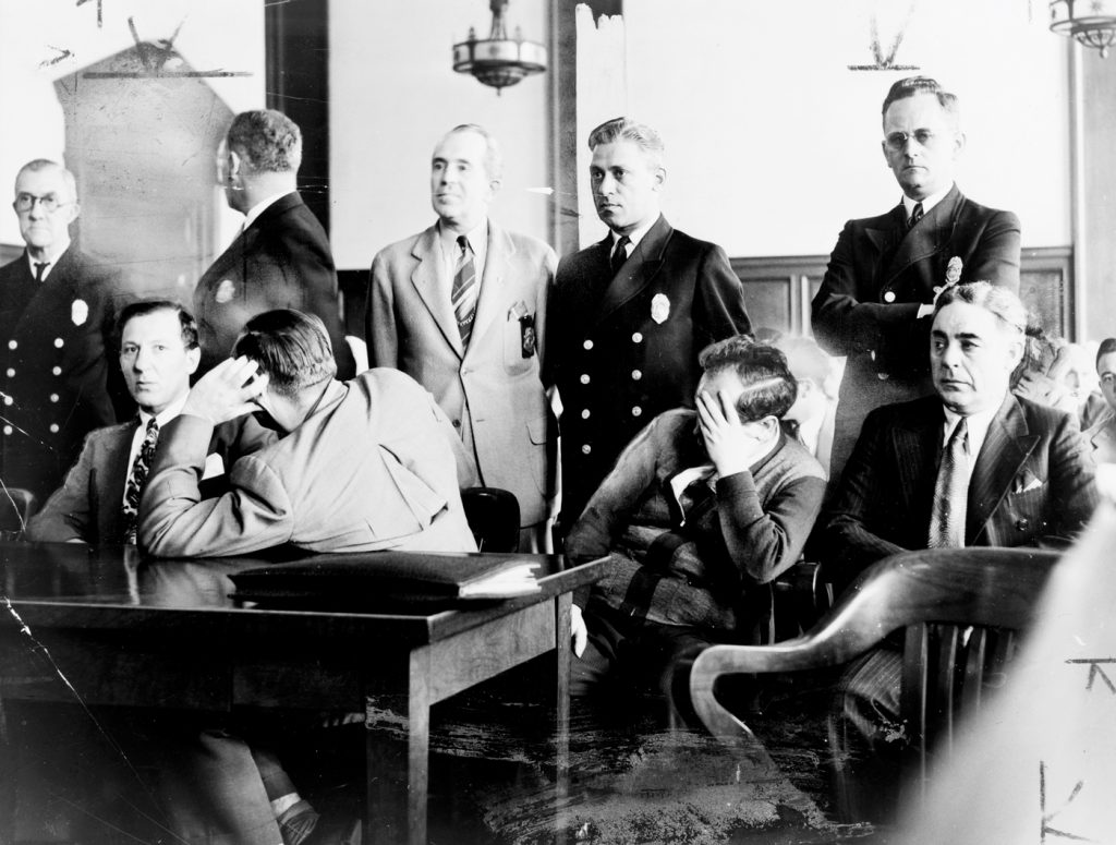 Seated, left to right, Lepke Buchalter, Mendy Weiss, Farvel Cohen, and Louis Capone during jury selection in their murder trial August 1941