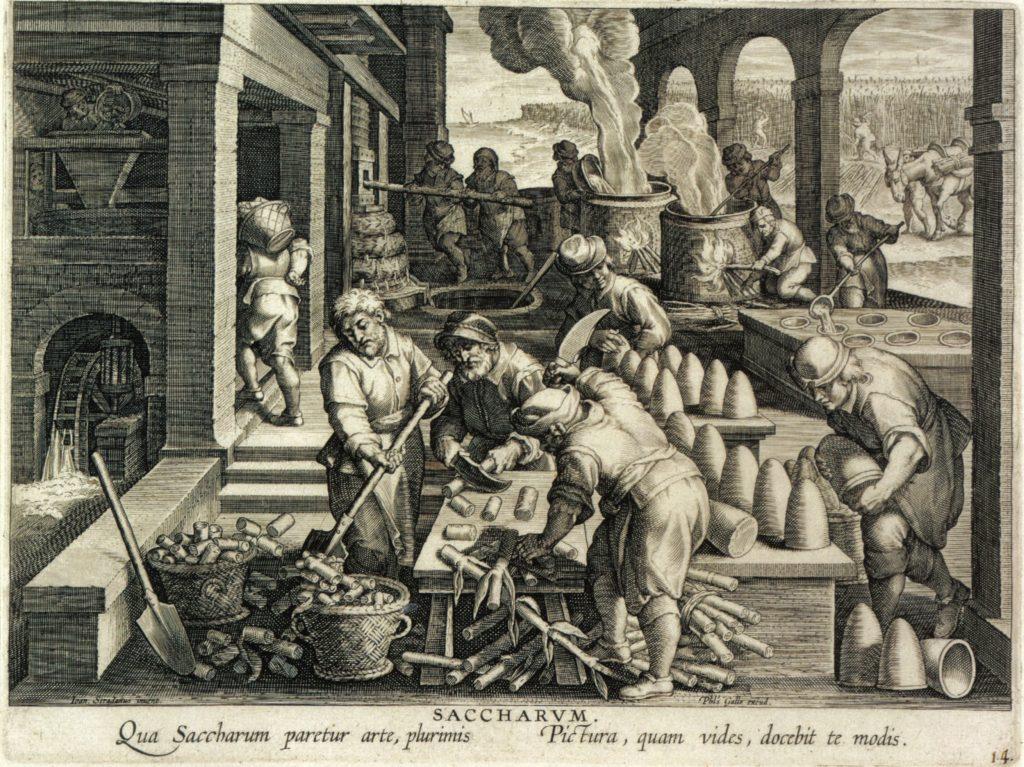 הסוכר נסחר וסופק לצרכנים בגוש בצורת חרוט לפחות מאז המאה ה-12, והצרכנים חתכו ופוררו אותו בבית באמצעות מצבט ייעודי. החרוט הוחלף בקוביות הסוכר רק במאה ה-19. ייצור סוכר באיים הקאריביים, תחריט מאת פיליפ גאל, 1591