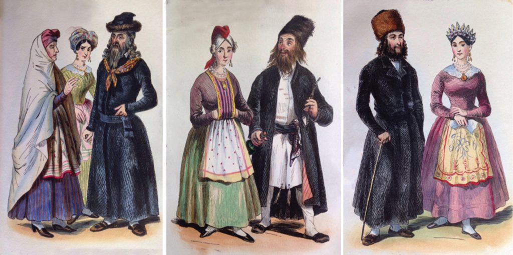 The engravings in Léon Hollaenderski's The Jews of Poland show a wide variety of Jewish costumes. Left to right: a Lithuanian group portrait, a Hasidic husband and wife, and a couple from Warsaw. The Hasid stands out not for his fur hat but for his inebriated, bohemian air