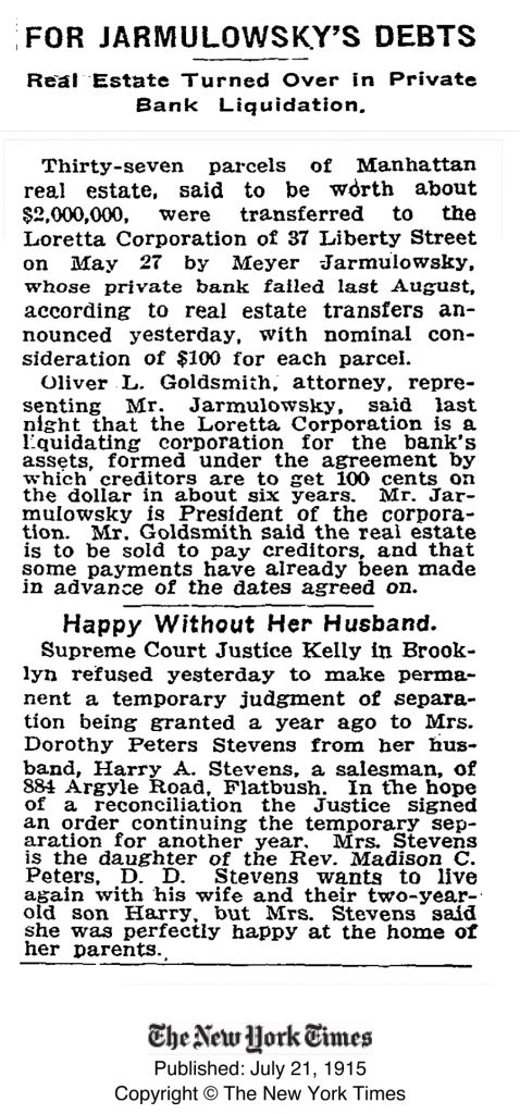 New York Times article from July 21, 1915, describing the liquidation of the assets of Jarmulowsky's bank