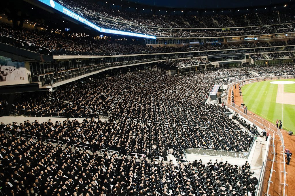 Although the American ultra-Orthodox movements are generally thought to be more integrated into society than their equivalents in Israel, this 2012 rally against Internet use at the New York Mets stadium showed otherwise