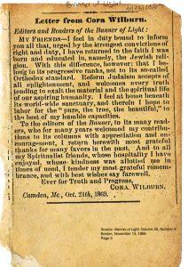 וילברן מכריזה על שובה לחיק היהדות — בגרסתה הרפורמית — ונפרדת לשלום מקוראיה הספיריטואליסטים. מכתב למגזין Banner of light, 13.11.1869
