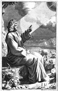 לוקרטיוס תחריט של מייקל בורגס לספרו על הטבע לונדון ואוקספורד 1682