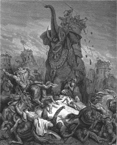 בעל ספר יוסיפון בחר בגרסה ההרואית של הסיפור על מות אלעזר החורני תחת הפיל והציג אותו כמוות על קידוש השם. 'מותו של אלעזר', גוסטב דורה, תחריט, 1815