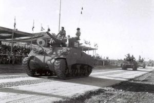 The IDF's first tanks were two Cromwells and two Shermans stolen from the British army, later joined by some ten obsolete French Hotchkisses. Thirty more Shermans arrived in 1949, purchased in Italy from American army surplus. A few were proudly displayed at a Tel Aviv military parade on Independence Day, 1949