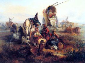 Gauchos resting in the Pampas. YM Rugendas, 1846