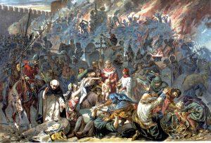 הניסיון להטביל את היהודים בכוח לנצרות לא הסתיים במסעות הצלב. ב-1349 נעצרו יהודי שטרסבורג ביום ולנטין הקדוש, הובאו לבית הקברות ואלה שסירבו להמיר את דתם הועמדו על בימת עץ ונשרפו. אמיל שוויצר, 1894