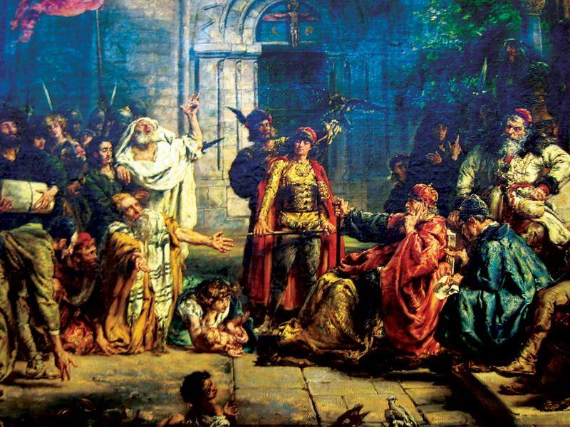 """גזרות תתנ""""ו היו גורם מרכזי להגירת יהודים למזרח אירופה. 'קבלת יהודים בפולין 1096', יאן מטייקו, המאה ה-19"""